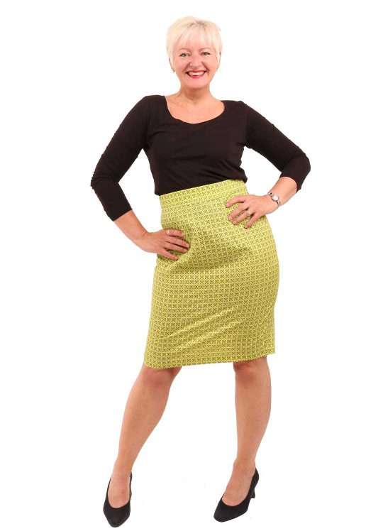 Bright Green Pencil Skirt - 'Lime Soda' - UK 12-14