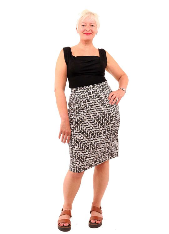 Geometric Pencil Skirt - 'Chain Reaction' - UK 12-14