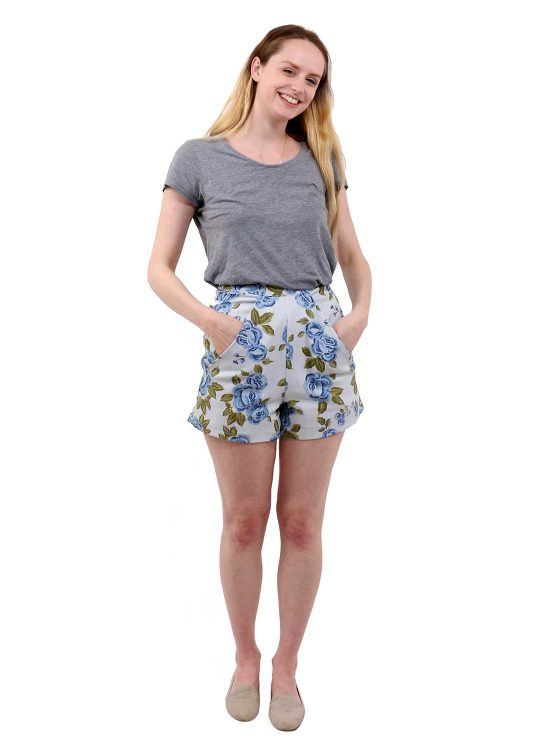 Pale Blue Floral Shorts - 'Beautiful Blooms' - UK 6-8