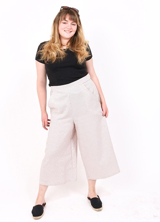'Check Me Out' Flared Cream Checked Culottes. Plaid high waisted trousers.