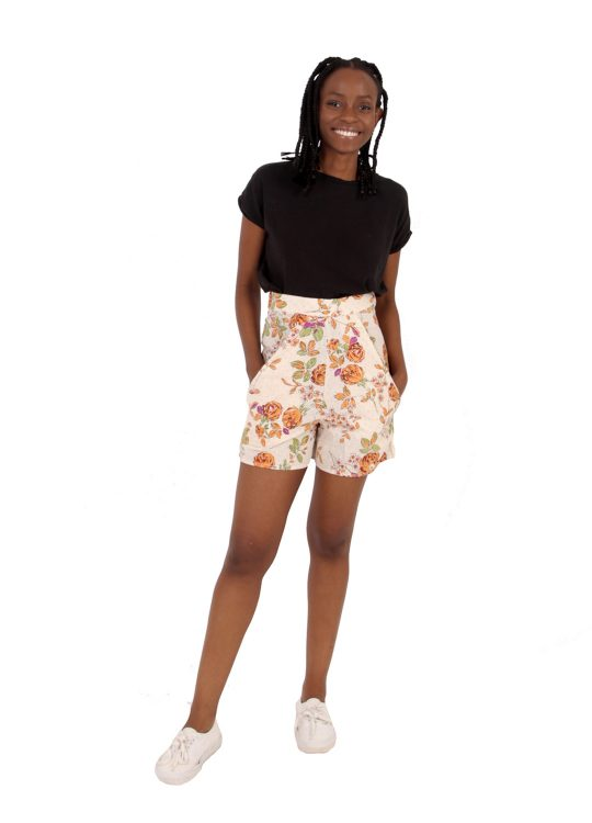 Cream Floral Shorts - 'Vintage Rose' - UK 6-8