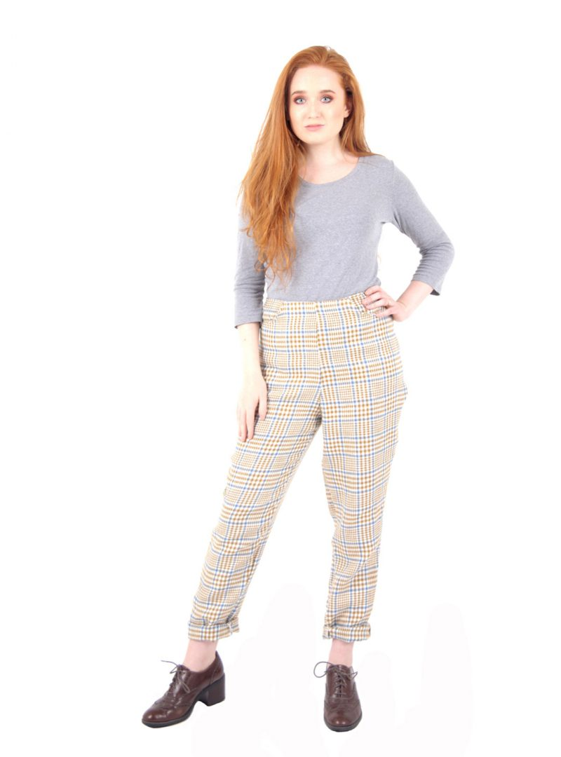 Camel Checked High-waisted Trousers - 'St Germain Stroll' - UK 10 - 12