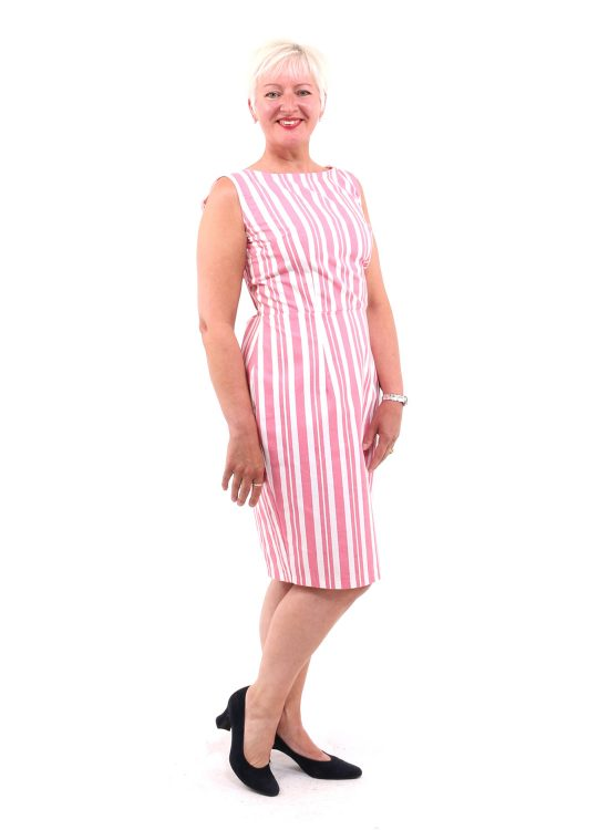 Pink Striped Pencil Dress - 'Brighton Rock' - UK 12-14