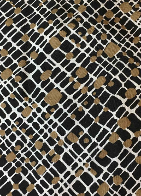 Black, Taupe + White Abstract Geometric Rayon #141
