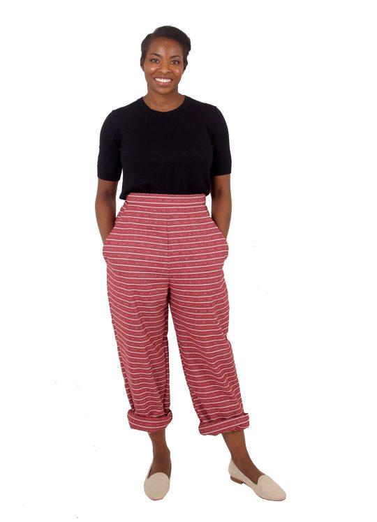 High-Waisted Striped Trousers - 'City Stroll' - UK 12-14