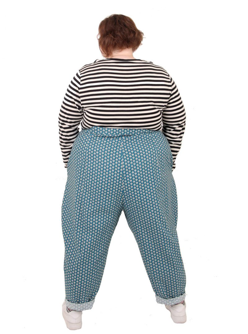 High-Waisted Blue Trousers - 'Provençal Prize' - UK 26-28