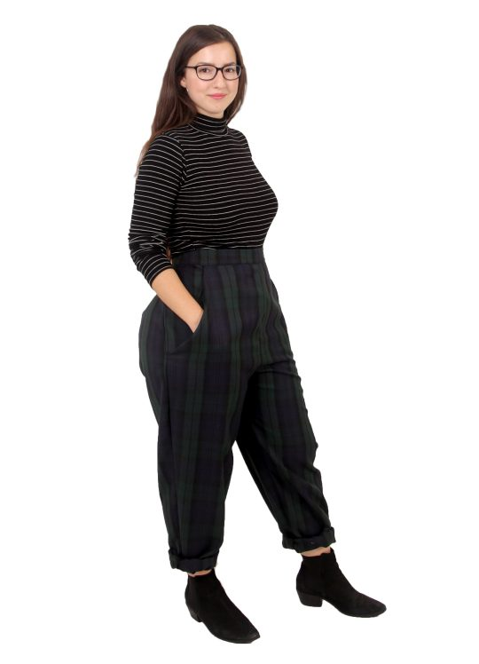 High-Waisted Tartan Trousers - 'Midnight Meander' - UK 14-16