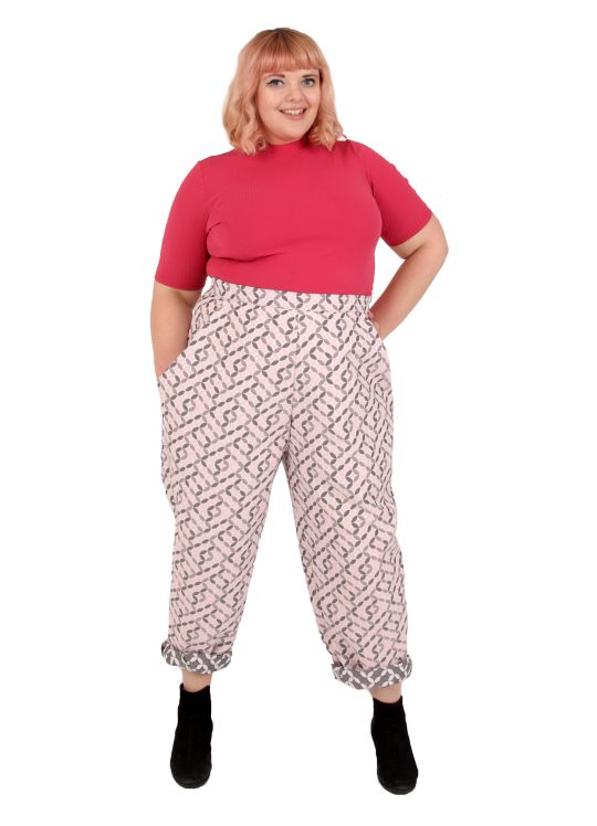 High-waisted Pink Geometric Trousers - 'Tilework' - UK 18-20