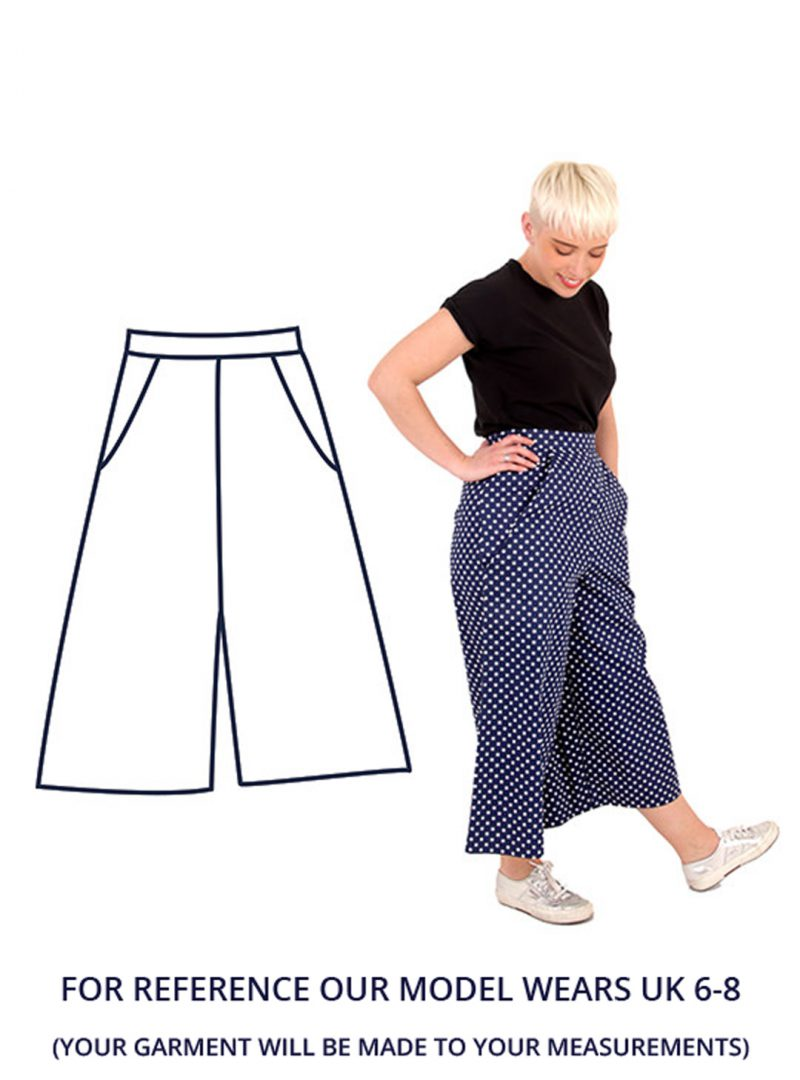 Model Ella wearing a pair of navy blue and white polka-dot culottes. Ella is stood to the side with her hand on her hip.