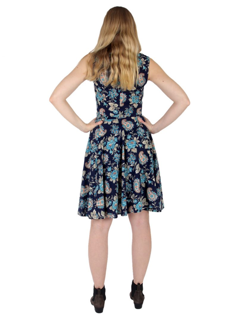 Navy Floral Circle Skirt Two-Piece - 'Folksy Floral' - UK 10-12