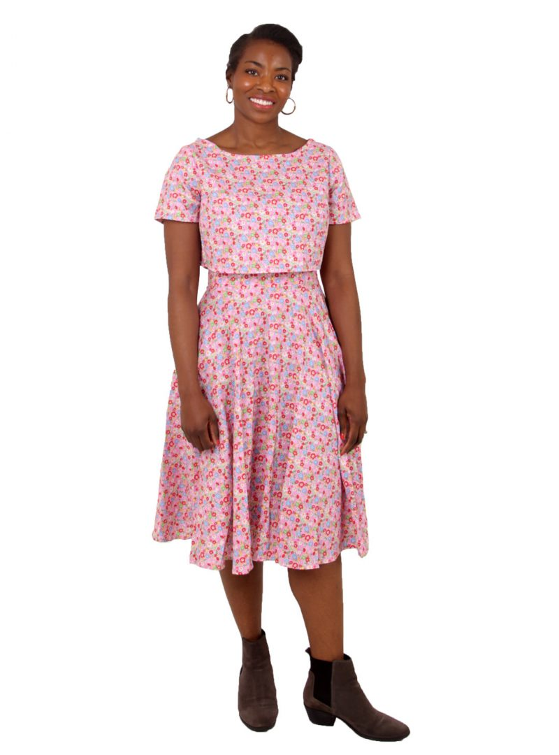 Pink Floral Circle Skirt Two-Piece - 'Petals' - UK 12-14