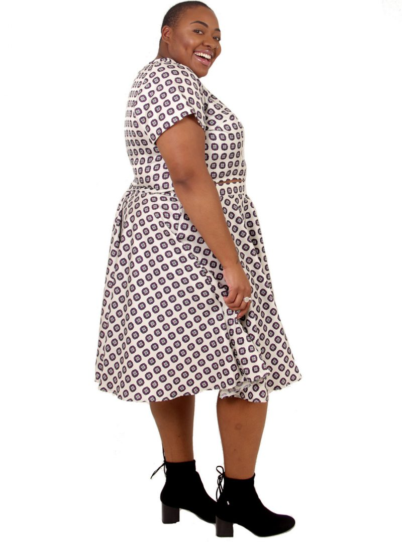 Ivory Geometric Circle Skirt Two-Piece - 'Stamp Collection' - UK 22-24