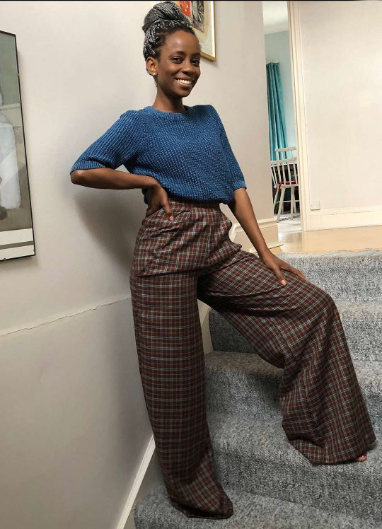 Brown Checked Wide Leg Trousers - 'Weekend Wander' - UK 6-8