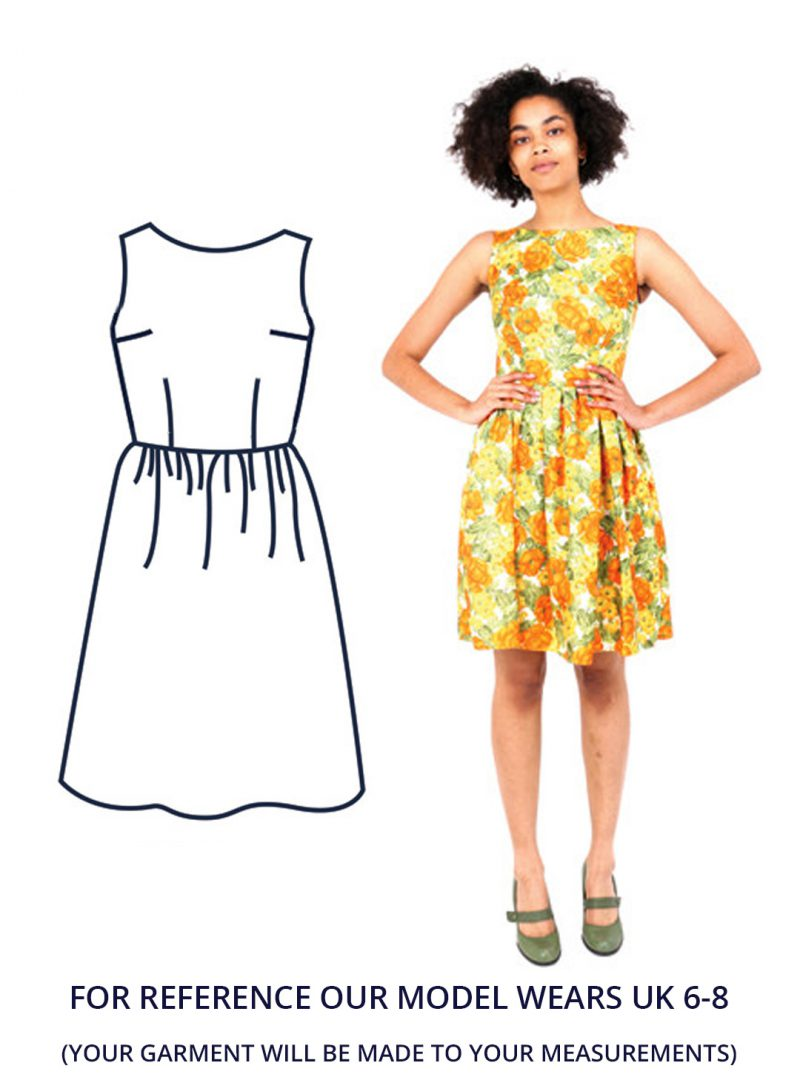 Sophia is wearing a yellow floral sleeveless teadress and is stood facing the camera with their hands on their hips.