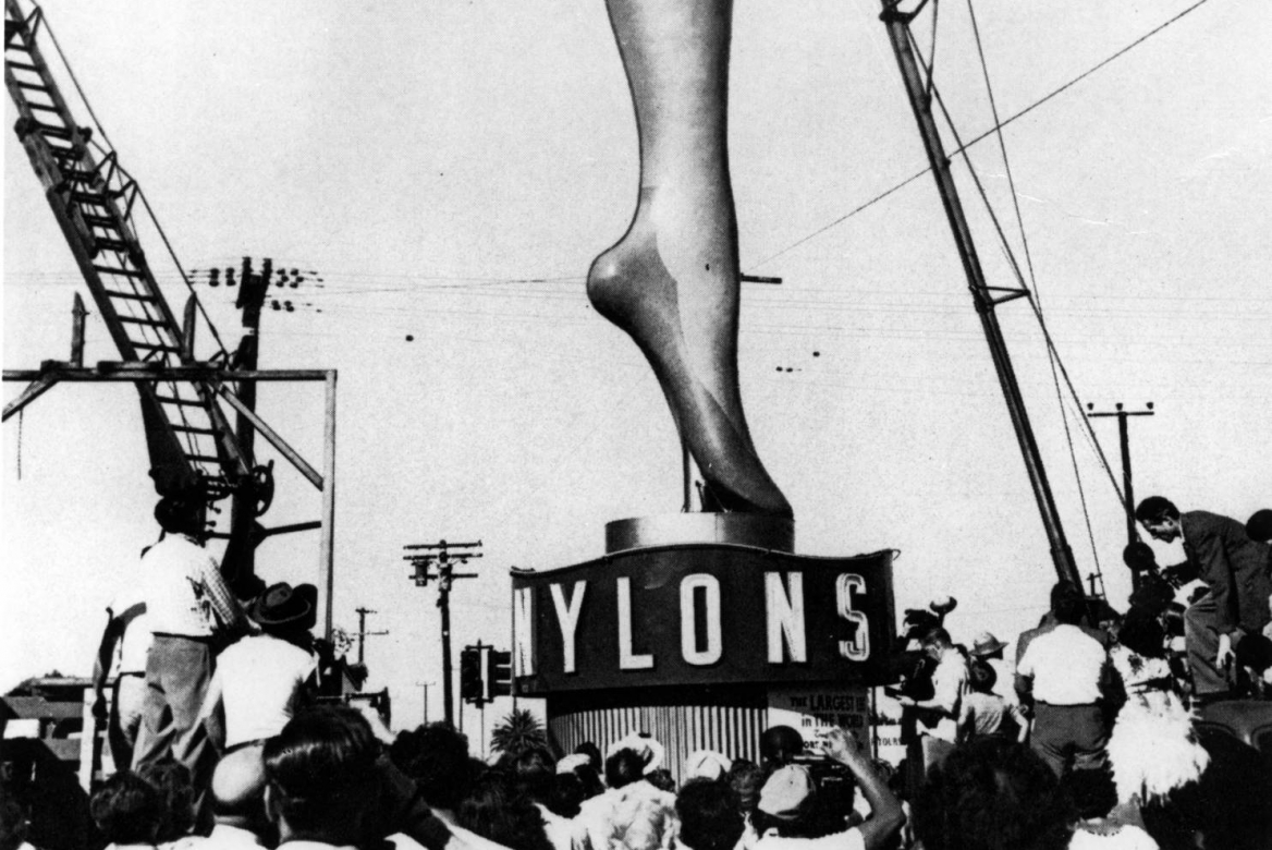 Black and white image of giant leg, 35 feet high, advertising nylons to the Los Angeles area.