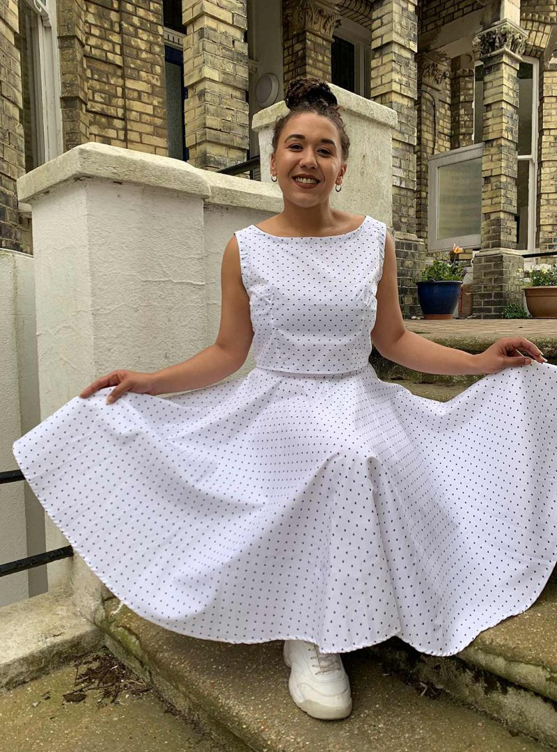 White Dotty Circle Skirt Two-Piece - 'Spotted in White' - UK 14-16